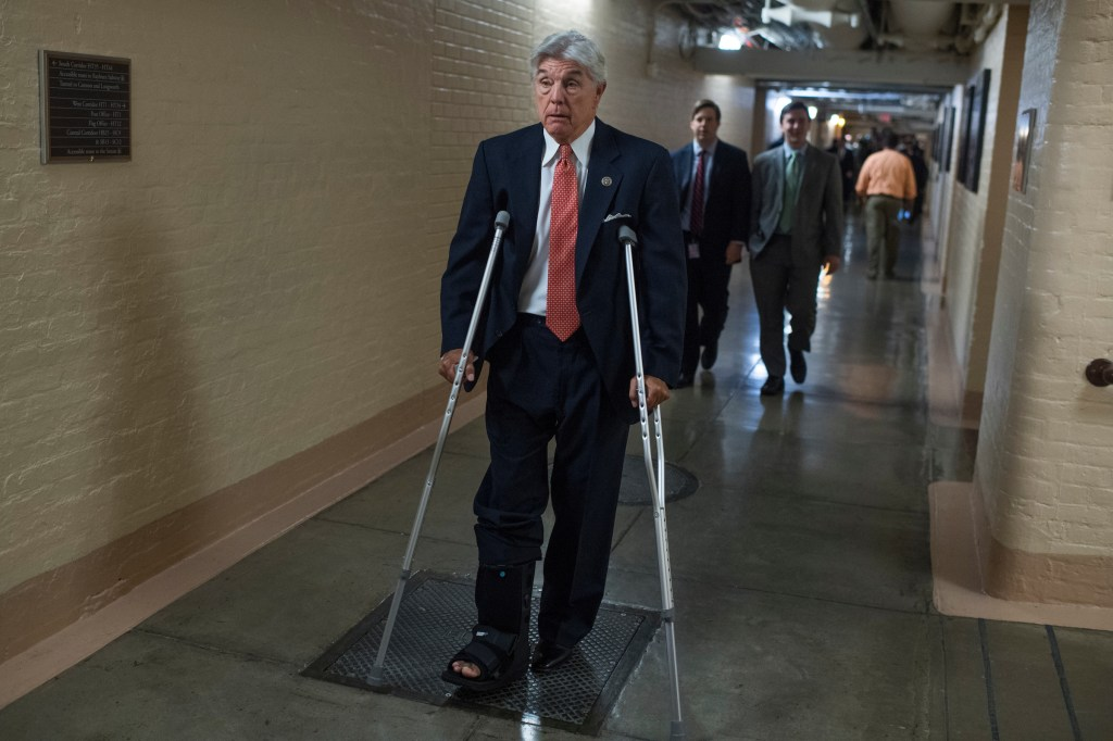 UNITED STATES - JUNE 21: Rep. Roger Williams, R-Texas, leaves a meeting of the House Republican Conference in the Capitol on June 21, 2017. Members wore fleur-de-lis stickers to honor House Majority Whip Steve Scalise, R-La., who was injured in last week's shooting at the Republican baseball practice. (Photo By Tom Williams/CQ Roll Call)