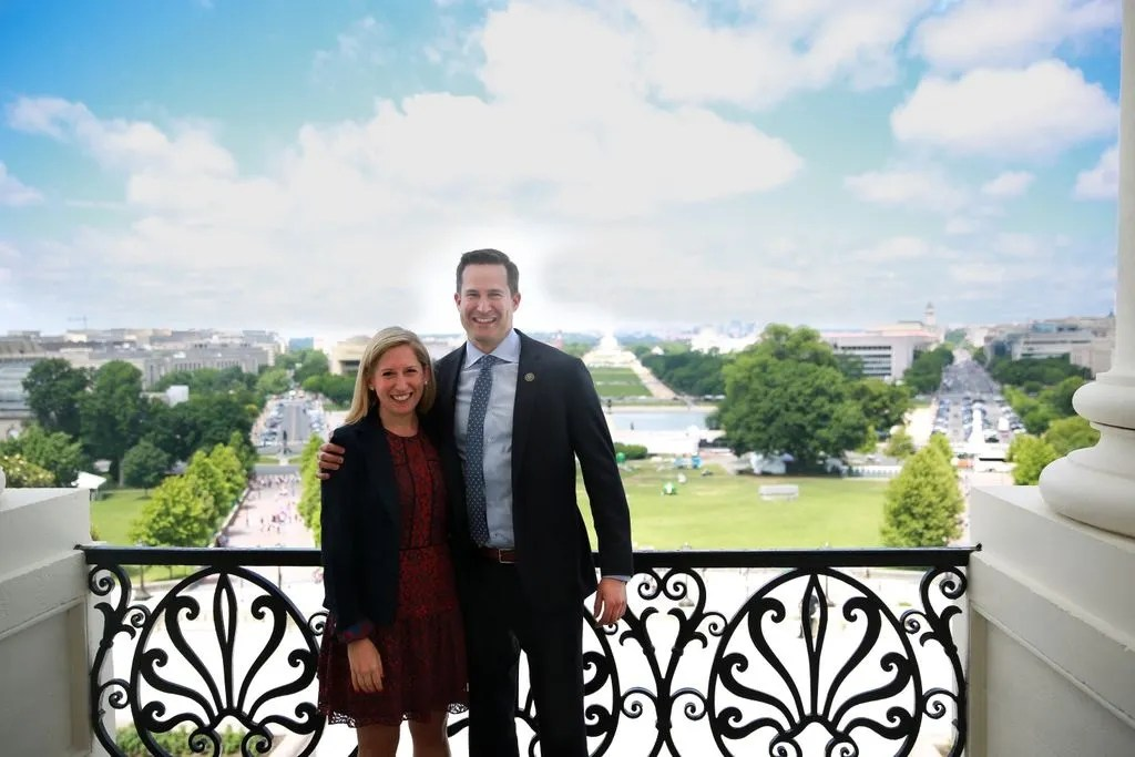 Liz Boardman, left, and Rep. Seth Moulton. (Photo courtesy of Moulton's twitter)