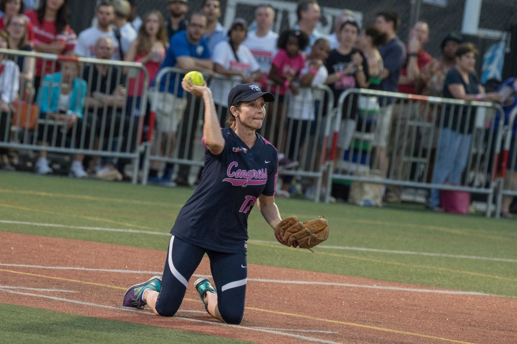 UNITED STATES - JUNE 21: Rep. Cheri Bustos, R-Ill., plays in the Congressional Women's Softball game that pits Congresswomen against female journalists at Watkins Recreation Center on Capitol Hill, June 21, 2017. The game benefits the Young Survival Coalition that helps young women with breast cancer. The press team prevailed 2-1. (Photo By Tom Williams/CQ Roll Call)