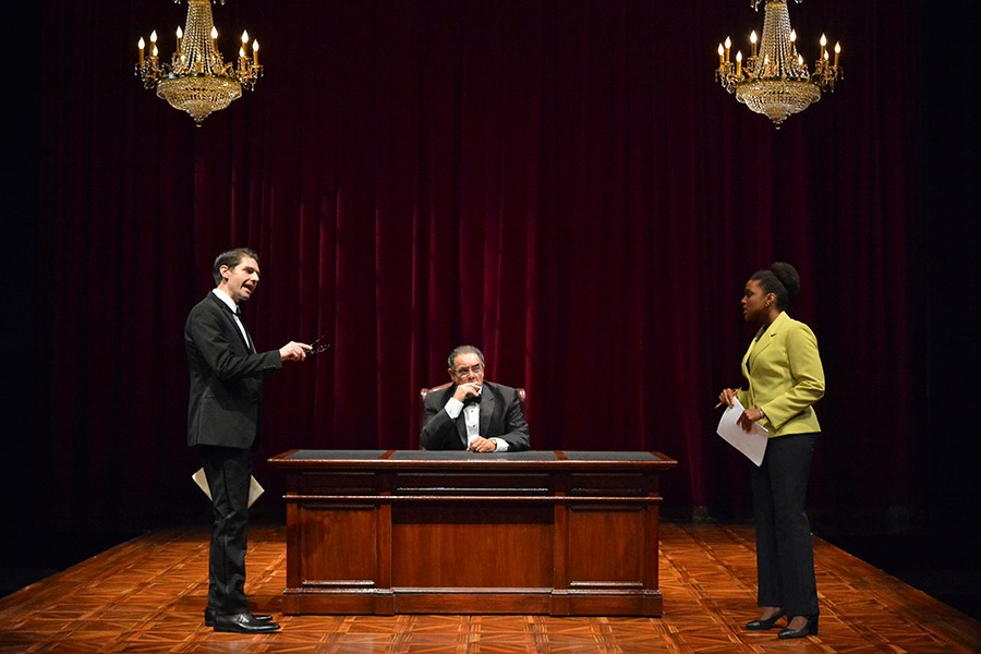(L to R) Brett Mack as Brad, Edward Gero as Supreme Court Justice Antonin Scalia and Jade Wheeler as Cat in The Originalist, which runs July 7-July 30, 2017 at Arena Stage at the Mead Center for American Theater. Photo by Gary W. Sweetman, Asolo Repertory Theatre.