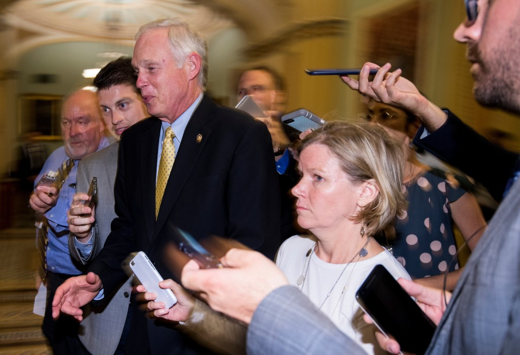 9:27 p.m. | Sen. Ron Johnson, R-Wis., after a conference call with the speaker on the health care bill. (Bill Clark/CQ Roll Call)