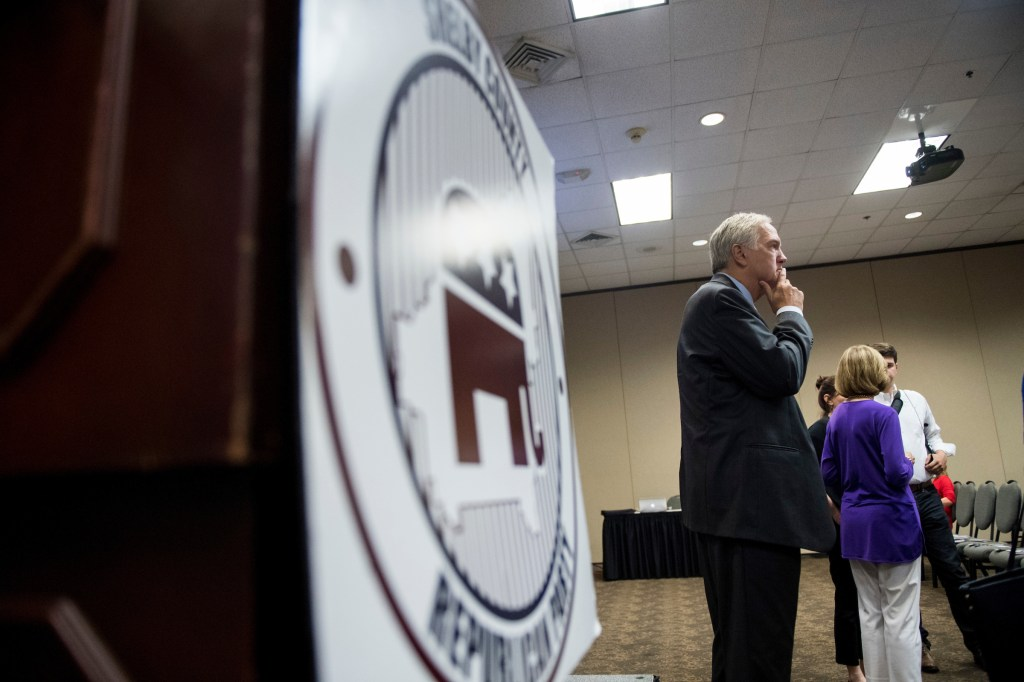 GOP candidate for U.S. Senate Sen. Luther Strange, R-Ala., arrives for the U.S. Senate candidate forum held by the Shelby County Republican Party in Pelham, Ala., on Friday, Aug. 4, 2017. (Bill Clark/CQ Roll Call)