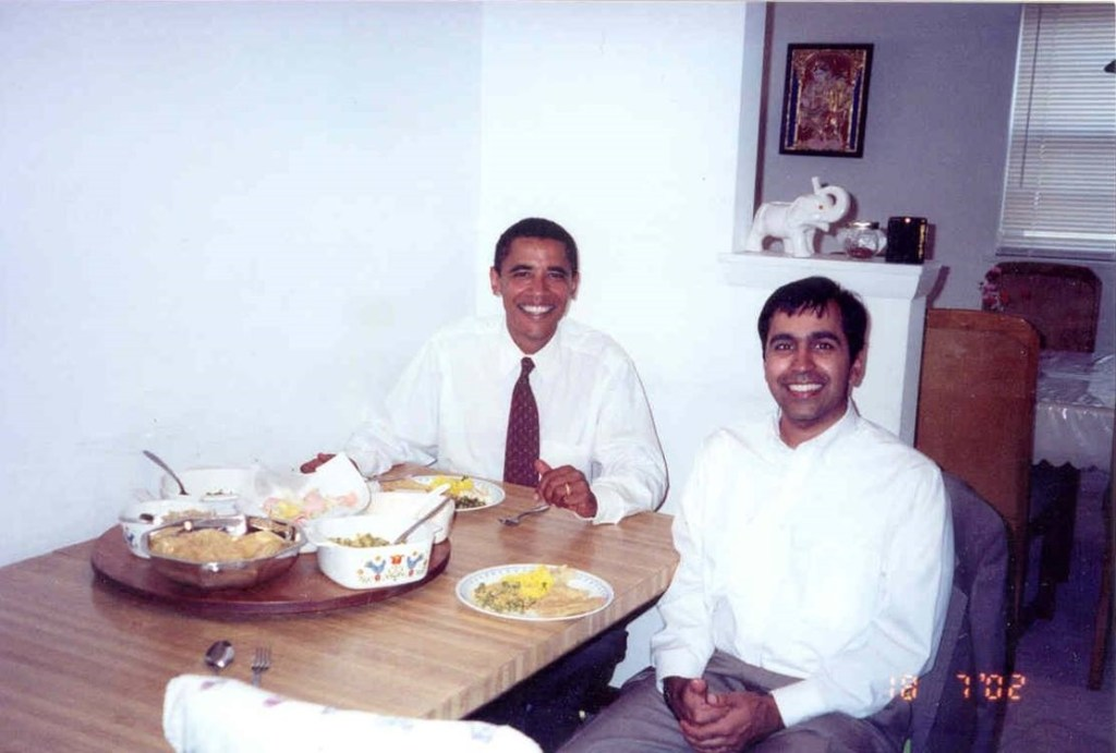 Then-State Senator Barack Obama with Rep. Raja Krishnamoorthi, D-Ill., in the congressman's childhood home where his parents still live in 2002. (Courtesy Krishnamoorthi)