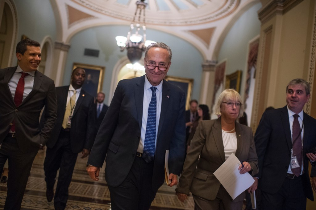 UNITED STATES - SEPTEMBER 06: Senate Minority Leader Charles Schumer, D-N.Y., and Sen. Patty Murray, D-Wash., arrive for a news conference after the Senate Policy luncheons in the Capitol on September 6, 2017. (Photo By Tom Williams/CQ Roll Call)