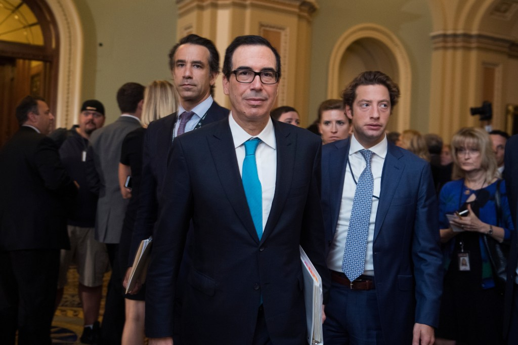 UNITED STATES - SEPTEMBER 12: Treasury Secretary Steve Mnuchin makes his way to a meeting in the Capitol office of Senate Majority Leader Mitch McConnell, R-Ky., on September 12, 2017.(Photo By Tom Williams/CQ Roll Call)