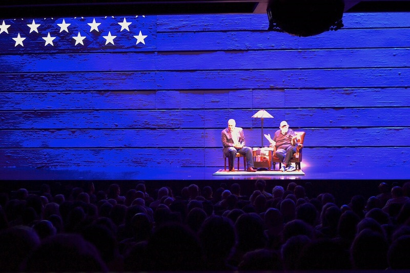 Rep. Dan Kildee, D-Mich., interviewed by filmmaker Michael Moore at the Belasco Theater on Broadway. (Courtesy Kildee)