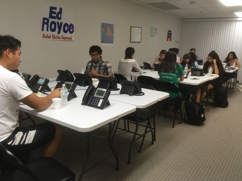 Volunteers at an Ed Royce office