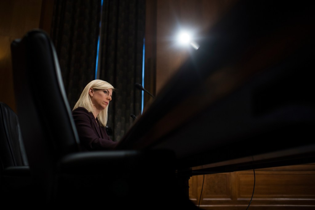 UNITED STATES - NOVEMBER 08: Kirstjen Nielsen, Homeland Security Department secretary nominee, testifies during her Senate Homeland Security and Governmental Affairs Committee confirmation hearing in Dirksen Building on November 8, 2017. (Photo By Tom Williams/CQ Roll Call)