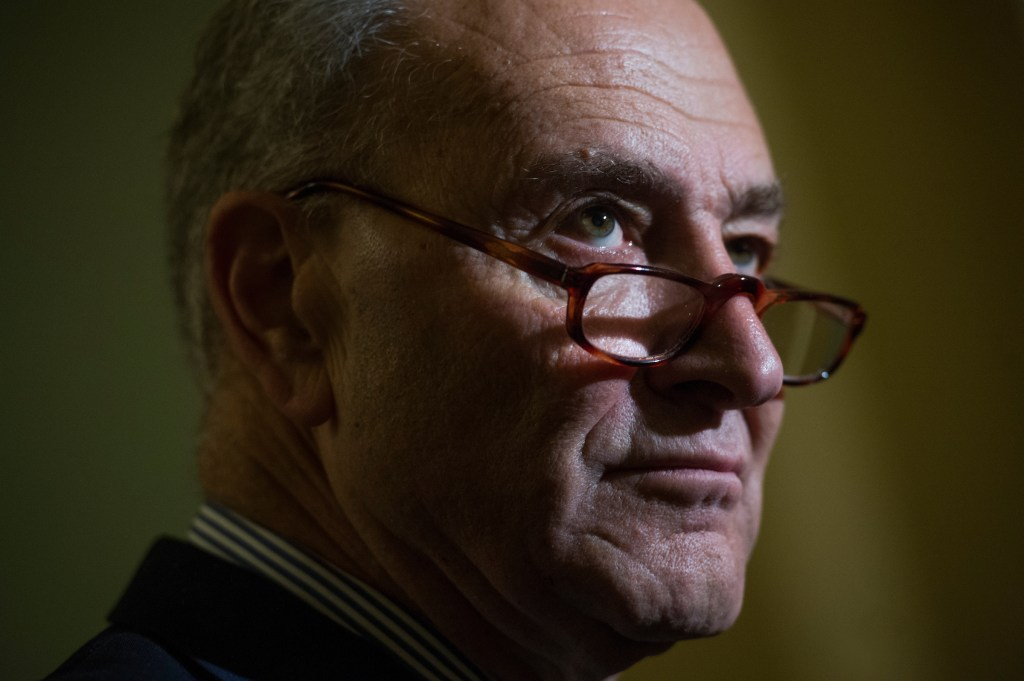 UNITED STATES - NOVEMBER 14: Senate Minority Leader Charles Schumer, D-N.Y., speaks with the media after the Senate Policy luncheons in the Capitol on November 14, 2017. (Photo By Tom Williams/CQ Roll Call)