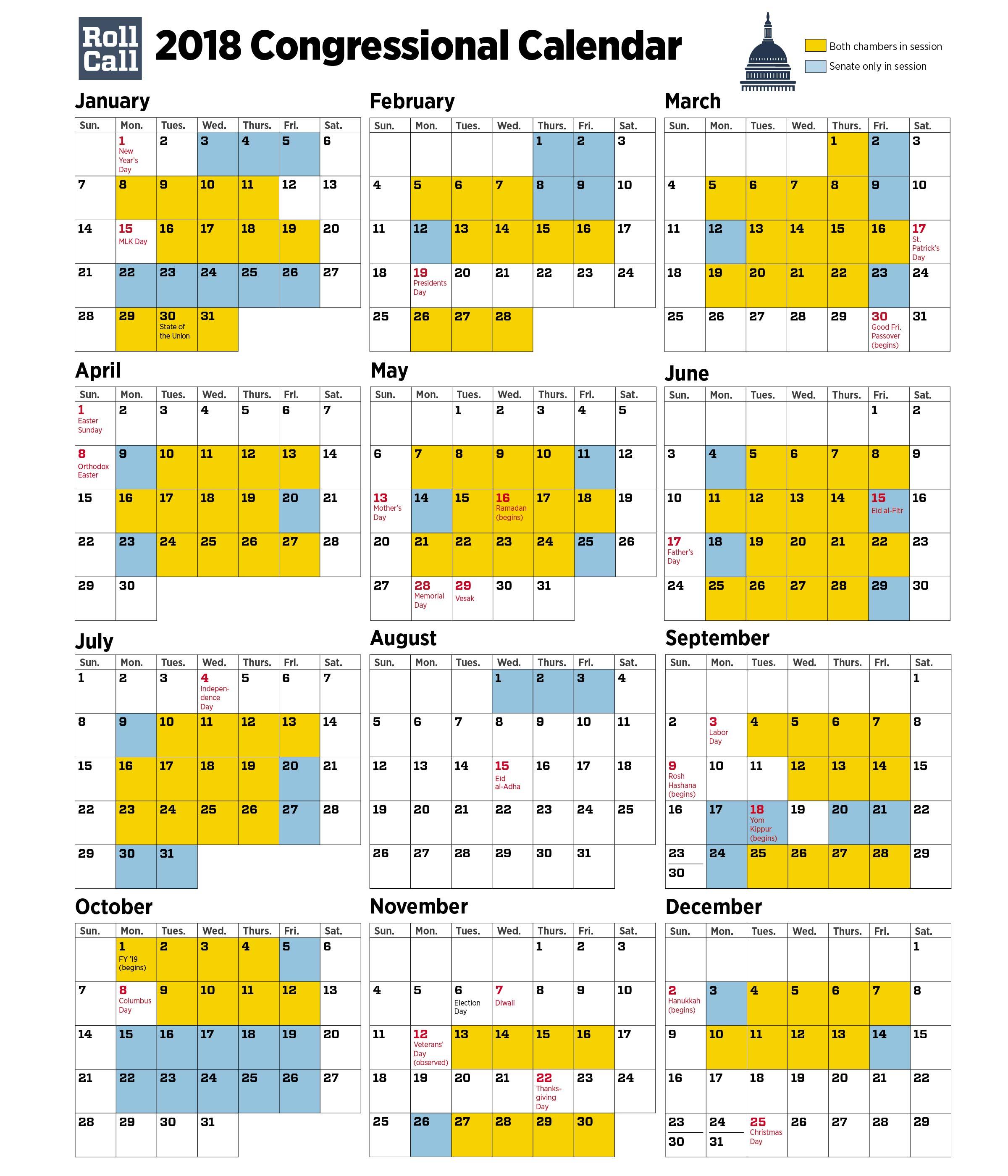 Congressional Calendar Senators Plan More Work Days