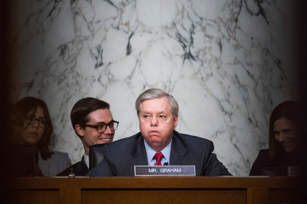 UNITED STATES - MAY 8: Chairman Lindsey Graham, R-S.C., conducts a Senate Judiciary Crime and Terrorism Subcommittee hearing in Dirksen Building titled