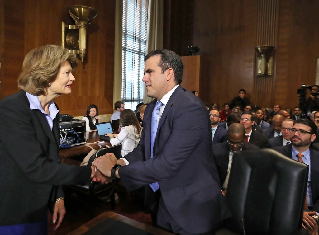 Puerto Rico Gov. Ricardo Rosselló met with members of Congress, including Alaska Sen. Lisa Murkowski, chairwoman of the Senate Energy and Natural Resources Committee, on Nov. 14. (Mark Wilson/Getty Images file photo)