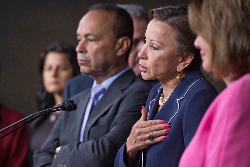 Rep. Nydia Velazquez speaks during a news conference with House Democrats to call for immediate assistance for victims of Hurricane Maria in Puerto Rico and the Virgin Islands. (Tom Williams/CQ Roll Call file photo)