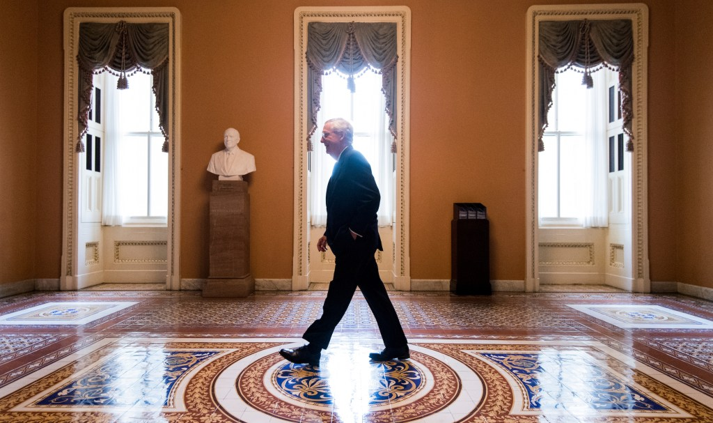 UNITED STATES - NOVEMBER 9: Senate Majority Leader Mitch McConnell, R-Ky., walks back to his office from the Senate floor in the Capitol on Thursday, Nov. 9, 2017. (Photo By Bill Clark/CQ Roll Call)