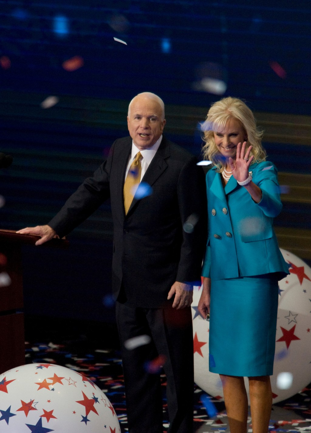 2008: McCain and his wife Cindy on the fourth day of the Republican National Convention held at the Xcel Center.