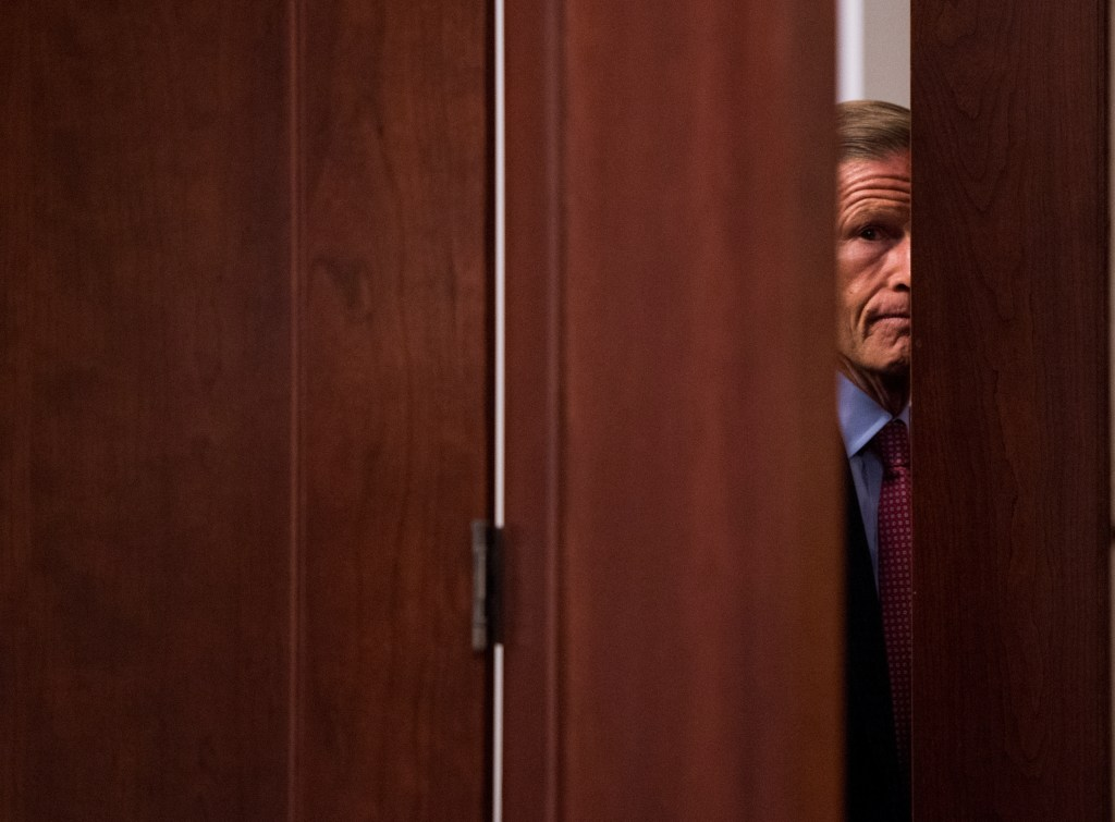 UNITED STATES - SEPTEMBER 7: Sen. Richard Blumenthal, D-Conn., returns to the meeting with Donald Trump Jr., and the Senate Judiciary staff on Thursday, Sept. 7, 2017. (Photo By Bill Clark/CQ Roll Call)