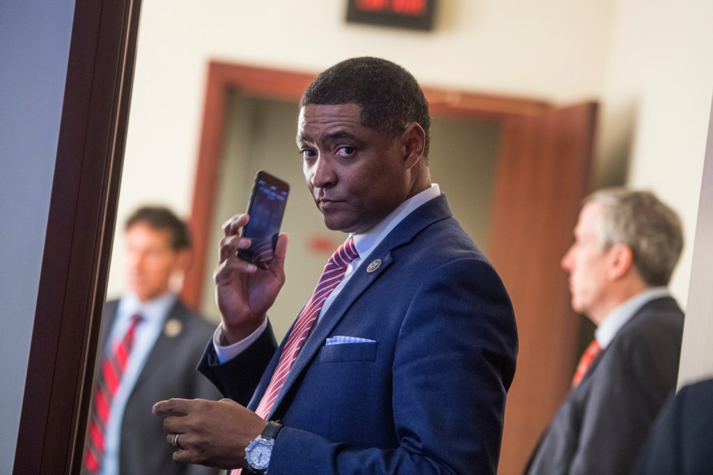 UNITED STATES - JANUARY 18: Rep. Cedric Richmond, D-La., Congressional Black Caucus chairman, prepares for a news conference in the Capitol Visitor Center to discuss a resolution to censure President Trump for derogatory comments about African nations and Haiti on January 18, 2018. (Photo By Tom Williams/CQ Roll Call)