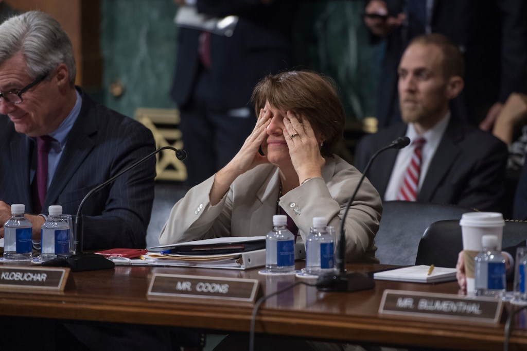 UNITED STATES - JANUARY 11: Sen. Amy Klobuchar, D-Minn., is seen during a Senate Judiciary Committee markup in Dirksen Building on the