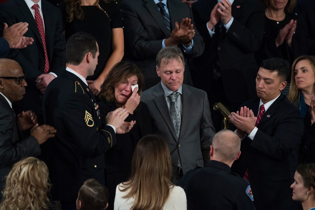 UNITED STATES - JANUARY 30: Fred and Cindy Warmbier, the parents Otto Warmbier, who was jailed in North Korea and subsequently died, are recognized during President Donald Trump's State of the Union address to a joint session of Congress in the House chamber on January 30, 2018. (Photo By Tom Williams/CQ Roll Call)