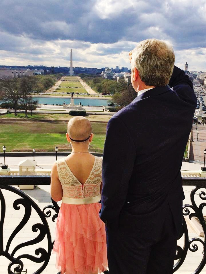 McCaul said he saw a metaphor in the breaking clouds when he and Sadie took a photo together on the Speaker's balcony. (Rep. Michael McCaul's office)
