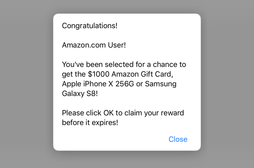 Example pop up you might see on your device