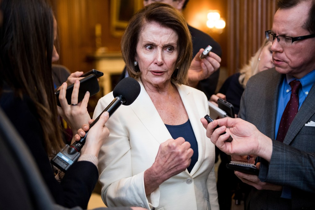 House Minority Leader Nancy Pelosi, D-Calif., speaks with reporters as she leaves the House chamber in the Capitol after holding her filibuster focusing on DACA for eight plus hours on Wednesday, Feb. 7, 2018. (Photo By Bill Clark/CQ Roll Call)