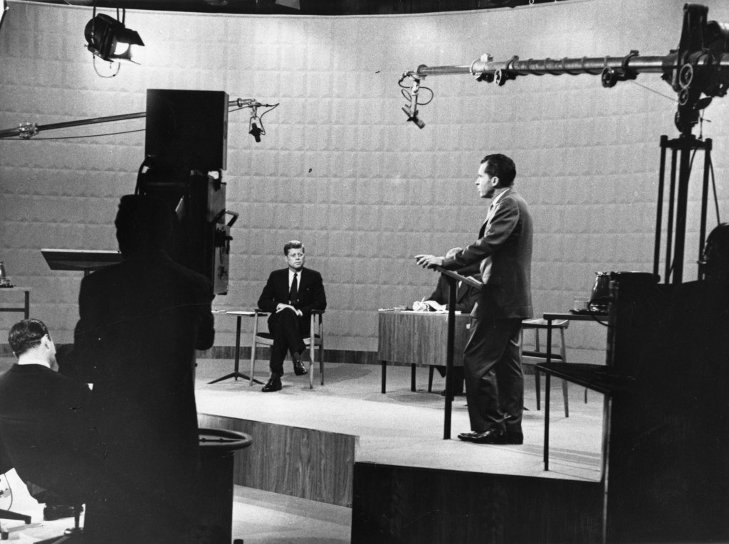 Former Presidents John F. Kennedy and Richard M. Nixon, shown here during a 1960 televised debate,