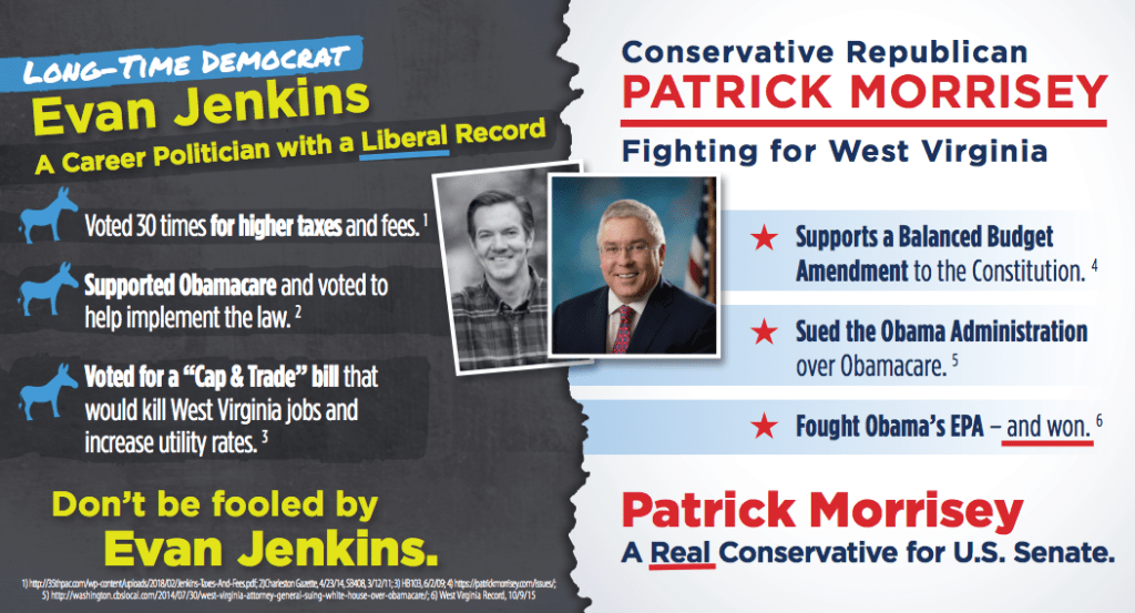 The pro-Morrisey super PAC dropped two mail pieces attacking Rep. Evan Jenkins last week.