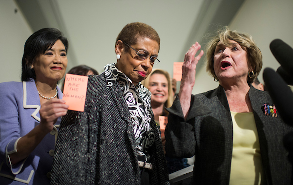 UNITED STATES - JANUARY 15: From left, Rep. Judy Chu, D-Calif., Del. Eleanor Holmes Norton, D-D.C., and Rep. Louise Slaughter, D-N.Y., co-chairwoman of the Pro-Choice Caucus, participate in a news conference outside of the House Judiciary Committee on Wednesday, Jan. 15, 2013, to protest