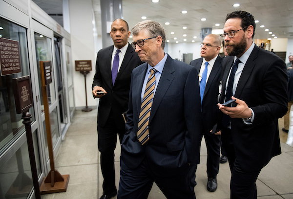 UNITED STATES - MARCH 15: Bill Gates waits to board the Senate subway in the Capitol on Thursday, March 15, 2018. (Photo By Bill Clark/CQ Roll Call)