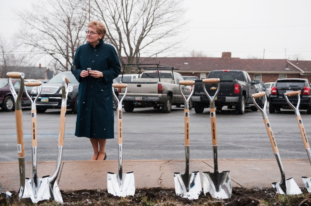 UNITED STATES - FEBRUARY 10: Rep. Marcy Kaptur, D-Ohio, participates a ground breaking ceremony for a new wing of the Ebenezer Baptist Church in Sandusky, Ohio. Kaptur and Rep. Dennis Kucinich, D-Ohio, are running for the OH-09 seat after the state lost two seats due to reapportionment. (Photo By Tom Williams/CQ Roll Call)