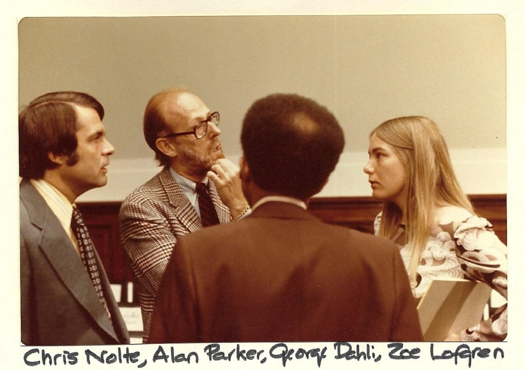 Then-staffer Zoe Lofgren, right, talks with other House Judiciary Committee staffers during impeachment hearings in 1974. (Courtesy of Lofgren)