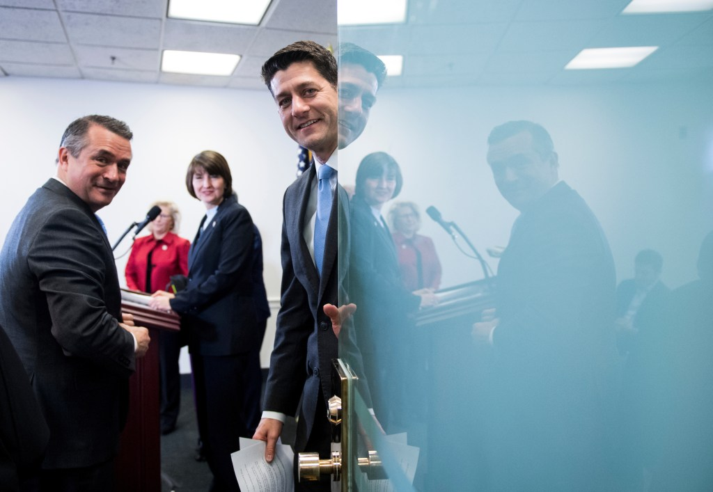 """Speaker Paul D. Ryan says Republicans have done a """"phenomenal job"""" when it comes to restoring so-called regular order to the House. Also pictured, from left, Nebraska Rep. Don Bacon, Wyoming Rep. Liz Cheney and House Republican Conference Chairwoman Cathy McMorris Rodgers. (Bill Clark/CQ Roll Call)"""