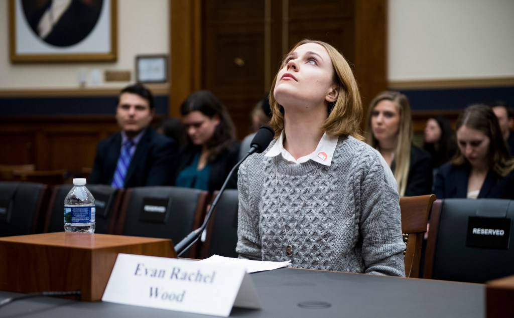 UNITED STATES - FEBRUARY 27: Actress Evan Rachel Wood testifies during the House Judiciary Committee hearing on Sexual Assault Survivors' Rights on Tuesday, Feb. 27, 2018. (Photo By Bill Clark/CQ Roll Call)