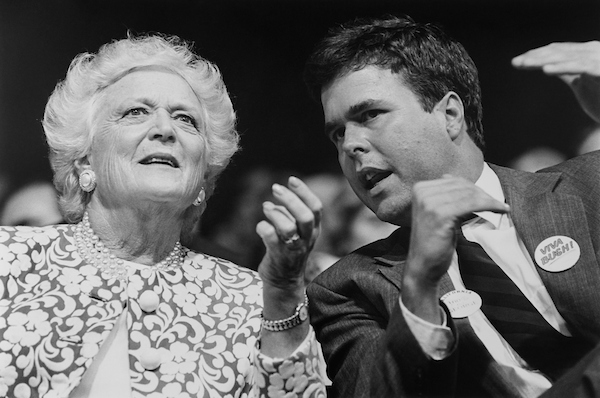First Lady of the United States Barbara Bush with son Jeb Bush at GOP Convention in Houston Texas, in 1992. (Photo by Laura Patterson/CQ Roll Call via Getty Images)