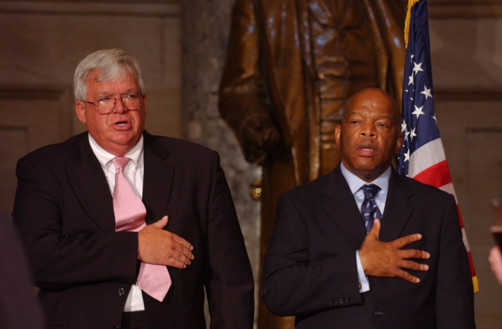 Speaker of the House J. Dennis Hastert, R-Ill, and John Lewis, D-GA, during the 40th anniversary of the March on Washington with a congressional celebration on Capitol Hill. (CQ RollCall File Photo)