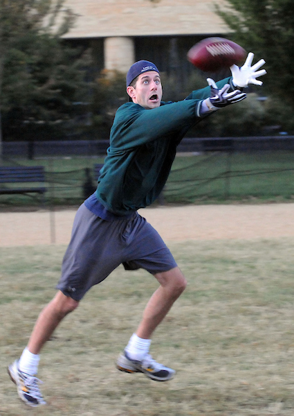 Ryan practices in October 2009 for the charity football game — Members vs. Capitol Police — on the National Mall. (CQ Roll Call archive photo)