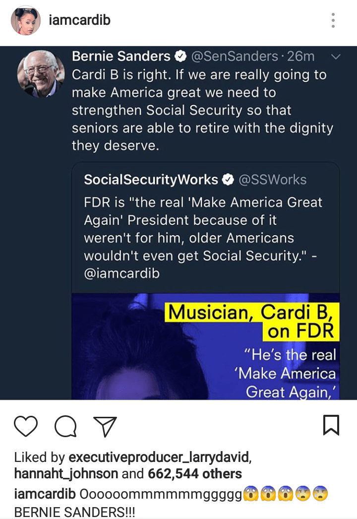 Rapper Cardi B posted a screenshot of Sen. Bernie Sanders, I-Vt., retweeting her quote about Social Security. (Roll Call File Photo)
