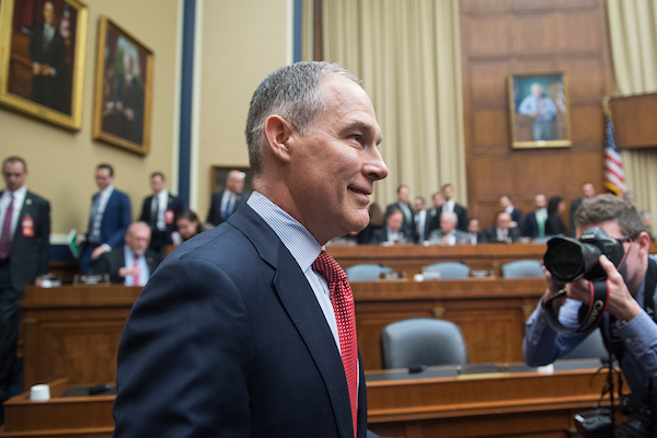 UNITED STATES - APRIL 26: EPA Director Scott Pruitt arrives to testify before a House Energy and Commerce Environment Subcommittee hearing in Rayburn Building titled