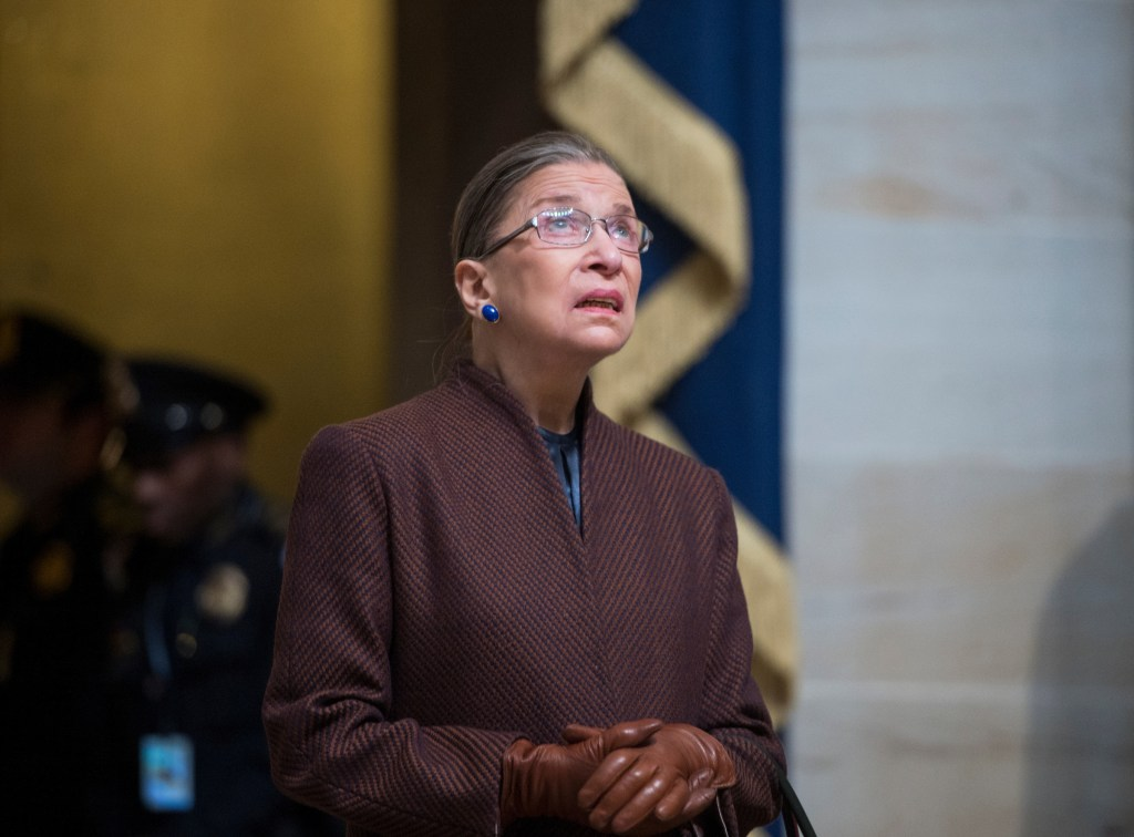 UNITED STATES - JANUARY 21: Supreme Court Justice Ruth Bader Ginsburg arrives for the luncheon in Statuary Hall during President Barack Obama's inauguration ceremony on Monday, Jan. 21, 2013. (Photo By Bill Clark/CQ Roll Call)
