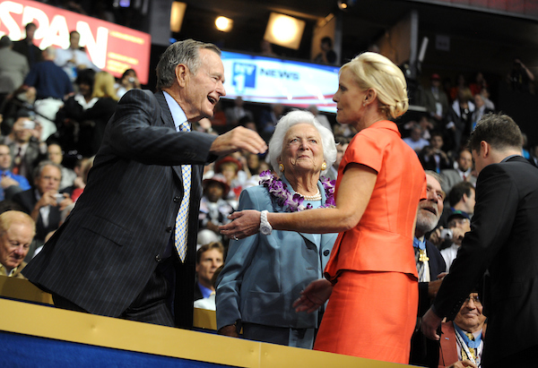 George and Barbara Bush greet Cindy McCain, wife of Sen. John McCain, on second night of the Republican National Convention held at the Excel Center in St. Paul, September 2, 2008.
