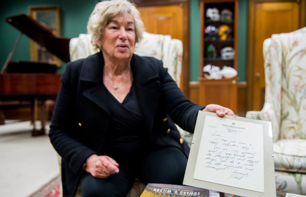 UNITED STATES - MARCH 22: Doris Wagley, Sen. Thad Cochran's scheduler, shows a framed note to her from Sen. Cochran as she speaks with Roll Call in his office in the Dirksen Senate Office Building on Thursday, March 22, 2018. Doris started working for Cochran in 1973 when he was a newly-elected Congressman. (Photo By Bill Clark/CQ Roll Call)
