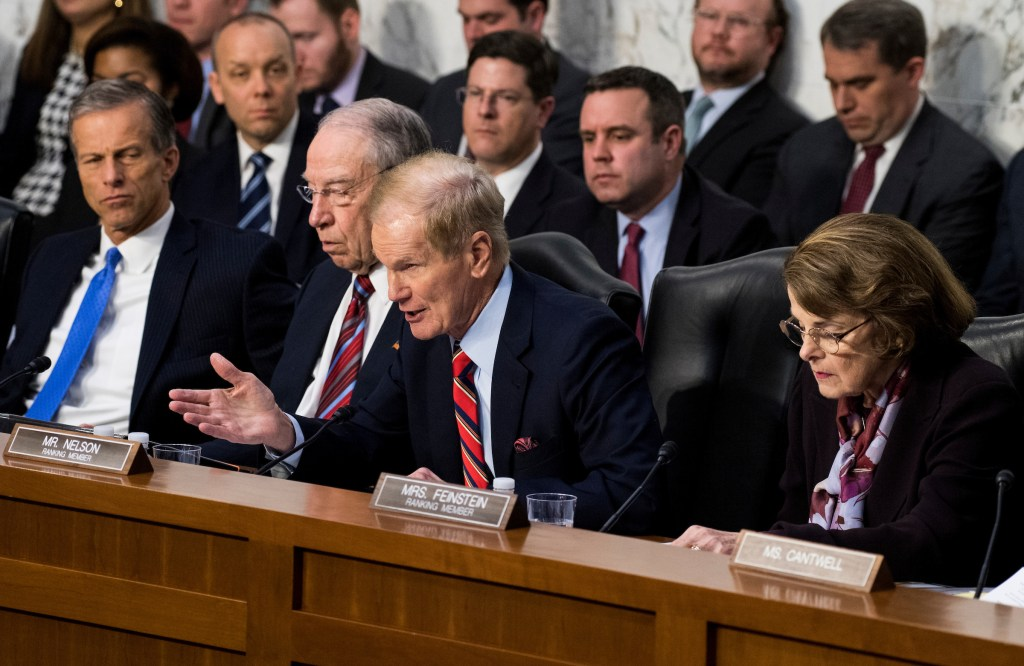 """Sen. Bill Nelson, D-Fla., questions Facebook CEO Mark Zuckerberg during the Senate Commerce, Science and Transportation Committee and Senate Judiciary Committee joint hearing on """"Facebook, Social Media Privacy, and the Use and Abuse of Data"""" on Tuesday, April 10, 2018. (Bill Clark/CQ Roll Call)"""