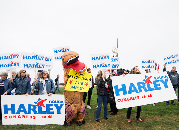 UNITED STATES - MAY 20: Supporters rally for Harley Rouda, Democrat running for California's 48th Congressional district seat in Congress, in Laguna Beach, Calif., on Sunday, May 20, 2018. California is holding its primary election on June 5, 2018. (Photo By Bill Clark/CQ Roll Call)