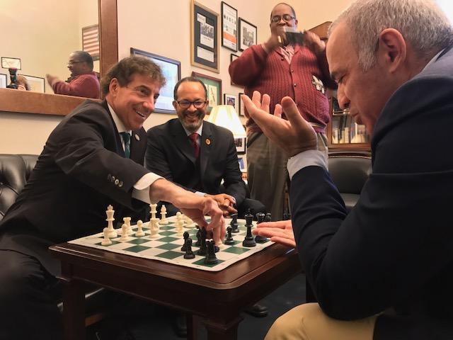 Rep. Jamie Raskin, D-Md., left, played chess with Garry Kasparov, right, in September. (Courtesy of Raskin)
