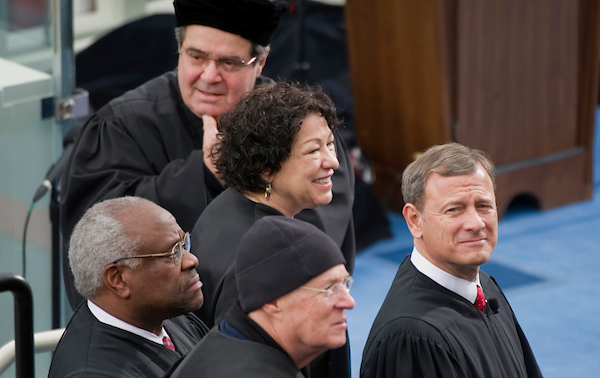 UNITED STATES - JANUARY 21, 2013: Supreme Court Justices (L-R) Clarence Thomas;Antonin Scalia; Sonia Sotomayor; Anthony Kennedy; and John Roberts arrive at the inauguration for U.S. President Barack Obama's second term of office. More than 600,000 people attended the event. (Photo By Chris Maddaloni/CQ Roll Call)