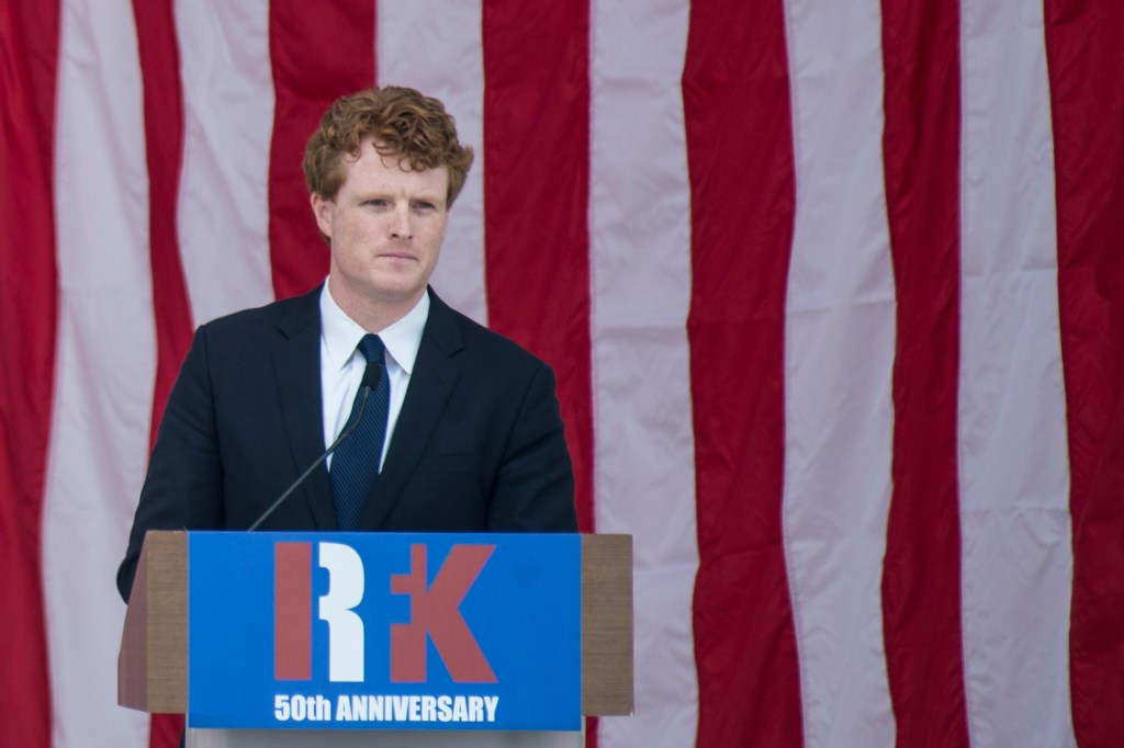 UNITED STATES - June 6: Rep. Joseph Kennedy III, D-Mass., speaks at the Robert Francis Kennedy Memorial Service at Arlington National Cemetery held on the 50th anniversary of RFK's assassination Wednesday June 6, 2018. (Photo By Sarah Silbiger/CQ Roll Call)
