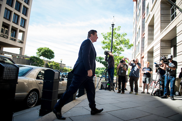 UNITED STATES - June 14: President Donald Trump's ex-campaign chief Paul Manafort arrives to the E. Barrett Prettyman United States Courthouse in Washington, D.C., to appear in U.S. District Court for a hearing on whether his bail should be revoked Friday June 14, 2018. (Photo By Sarah Silbiger/CQ Roll Call)