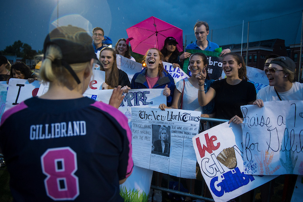 Sen. Kirsten Gillibrand, D-N.Y., greets her interns after the Congressional Women's Softball Game where members of the press take on members of Congress to raise money for breast cancer. This year's game as played at the Watkins Recreation Center in Capitol Hill Wednesday June 20, 2018. (Sarah Silbiger/CQ Roll Call)