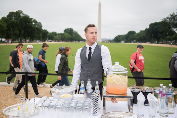 UNITED STATES - JUNE 4: Bogdan Dudka, originally from Ukraine, caterers the opening reception for Ocean Plastics Lab on the National Mall on June 4, 2018. (Photo By Tom Williams/CQ Roll Call)